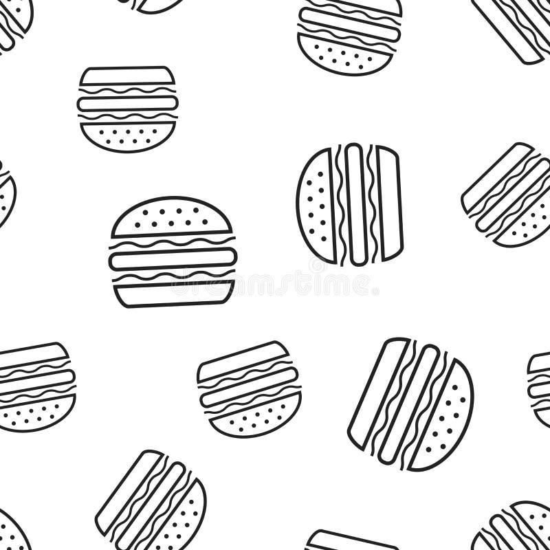 Fundo sem emenda do teste padrão do fast food do hamburguer Conceito v do negócio ilustração stock