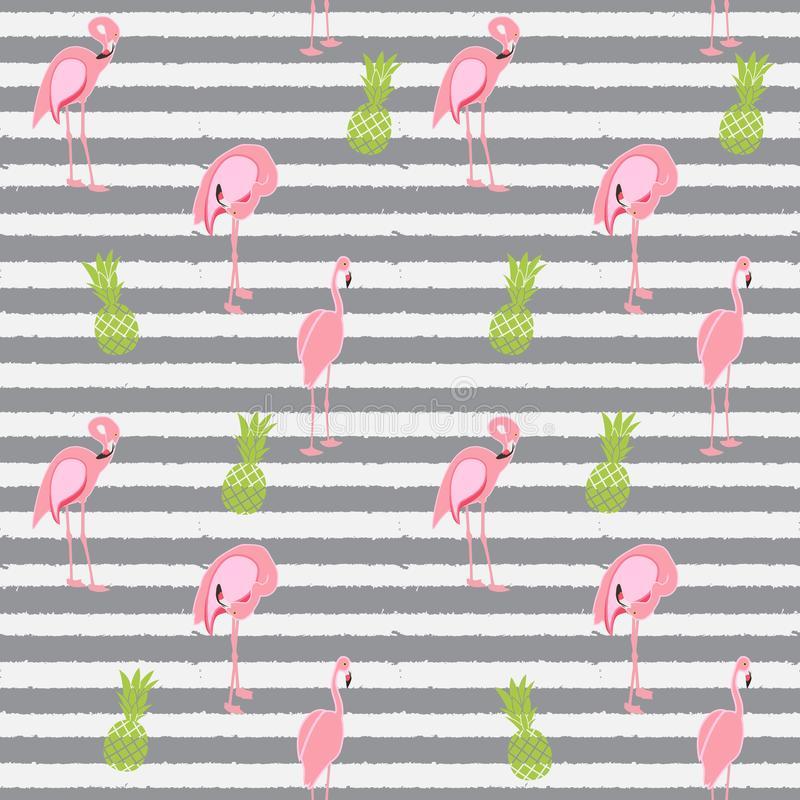Fundo sem emenda do teste padrão do flamingo cor-de-rosa colorido Vetor ilustração do vetor