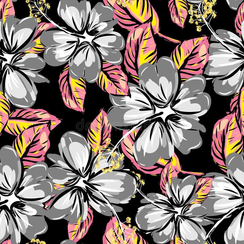 Fundo sem emenda do teste padrão do hibiscus e da folha tropical ilustração royalty free