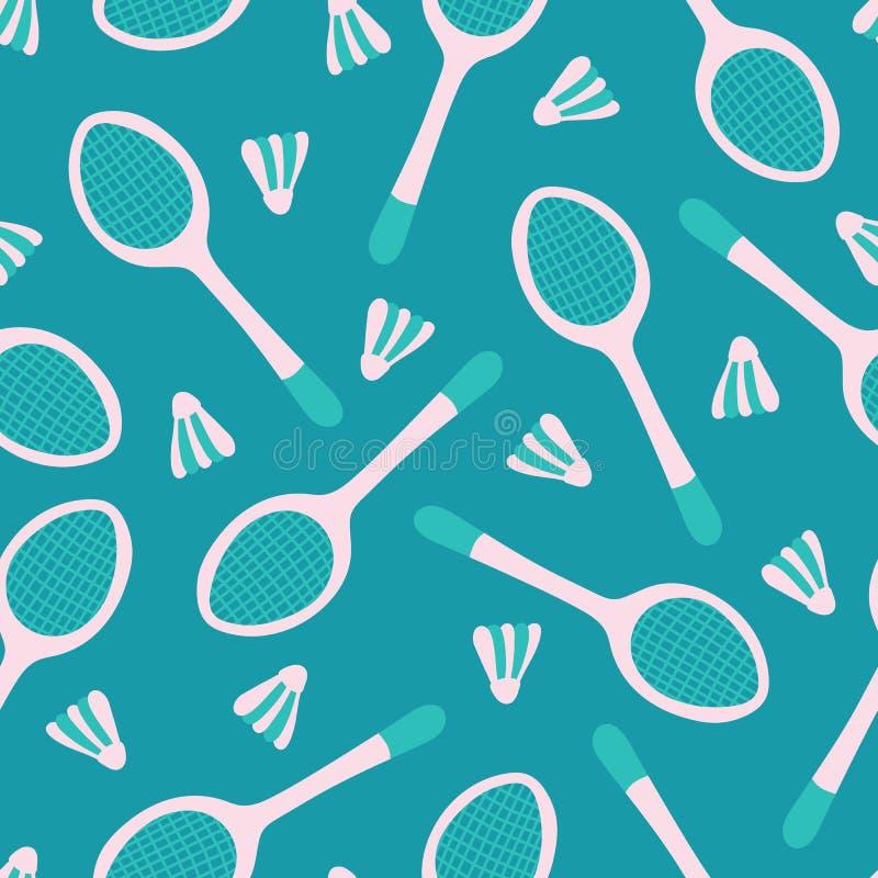 Fundo sem emenda do teste padrão do material desportivo do badminton do vetor para a tela, papel de parede, projetos scrapbooking ilustração stock