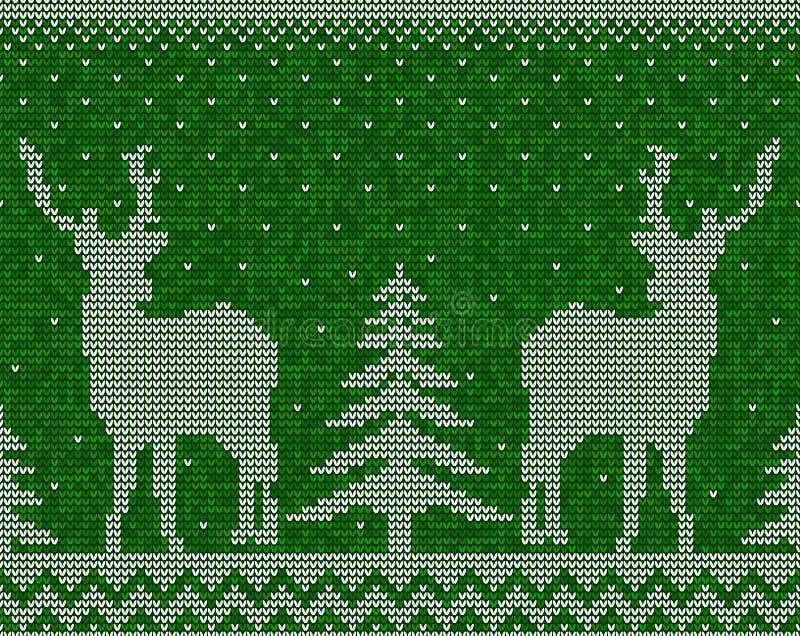 Fundo sem emenda do teste padrão do Natal com cervos ilustração royalty free