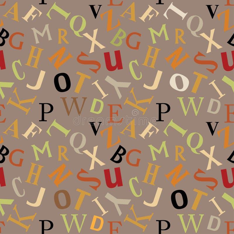 Fundo sem emenda do teste padrão do projeto de matéria têxtil do SUMÁRIO do ALFABETO do ABC ilustração do vetor