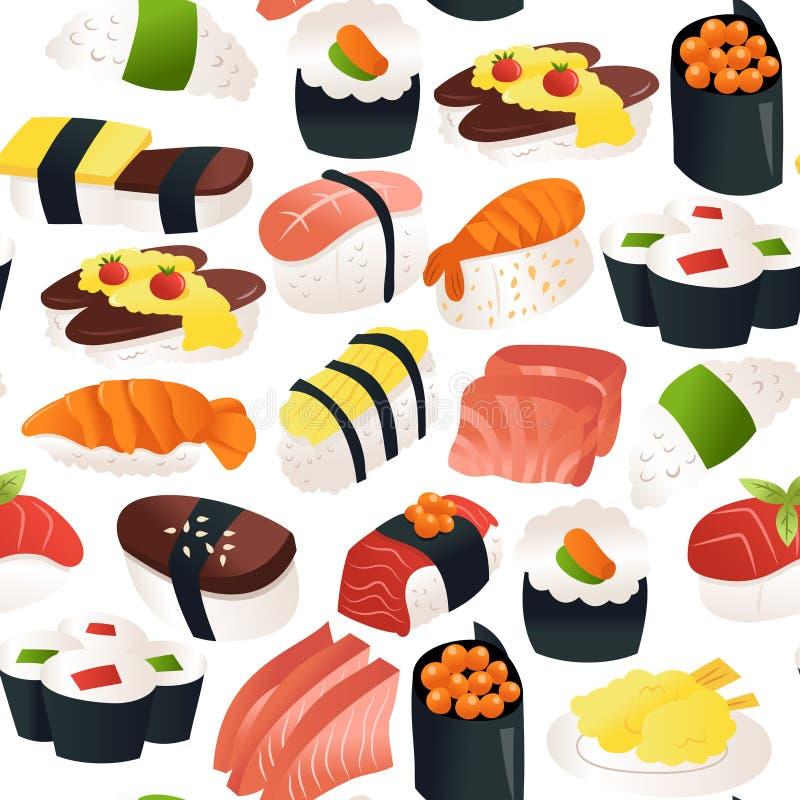 Fundo sem emenda do teste padrão do Sashimi do sushi dos desenhos animados ilustração royalty free