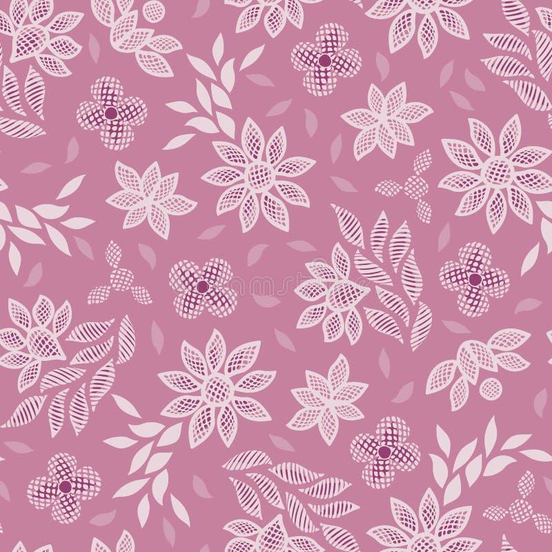 Fundo sem emenda do teste padrão do vetor do bordado floral cor-de-rosa do laço ilustração royalty free