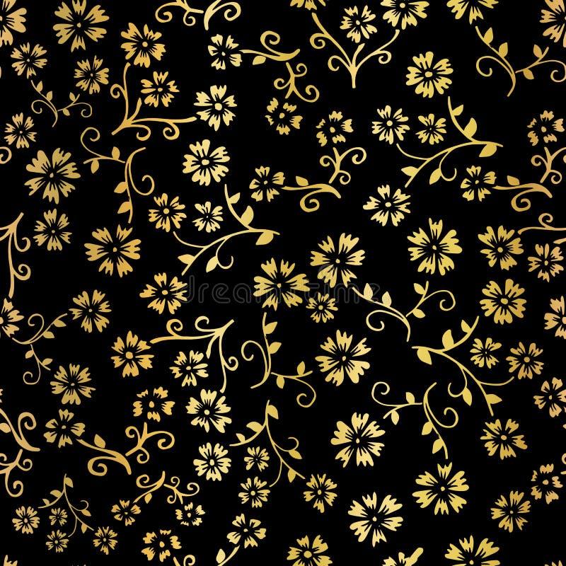 Fundo sem emenda do teste padrão do vetor da flor da folha de ouro Floral dourado elegante no contexto preto Projeto elegante par ilustração royalty free