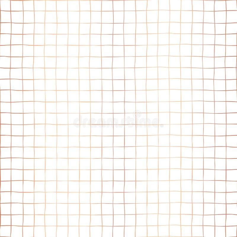 Fundo sem emenda do teste padrão do vetor da grade de cobre da folha Formas quadradas tiradas da quadriculação do ouro de Rosa mã ilustração stock