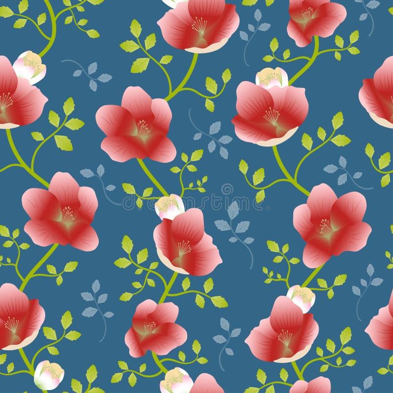 Fundo sem emenda do teste padrão do vetor da repetição aleatória da flor e da videira do Hellebore ilustração do vetor