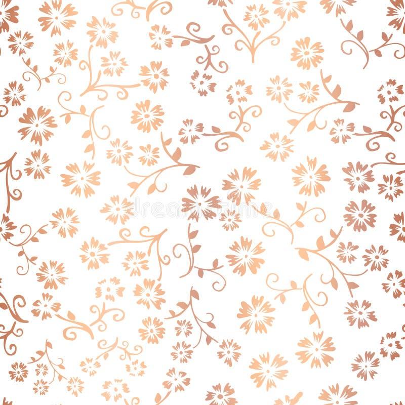 Fundo sem emenda do teste padrão do vetor de cobre da flor da folha Ouro cor-de-rosa elegante floral no contexto branco Para o pa ilustração stock