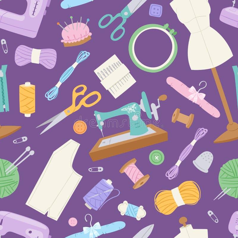 Fundo sem emenda do teste padrão do vetor do equipamento da agulha de costura dos acessórios do passatempo do agulha-trabalho da  ilustração royalty free