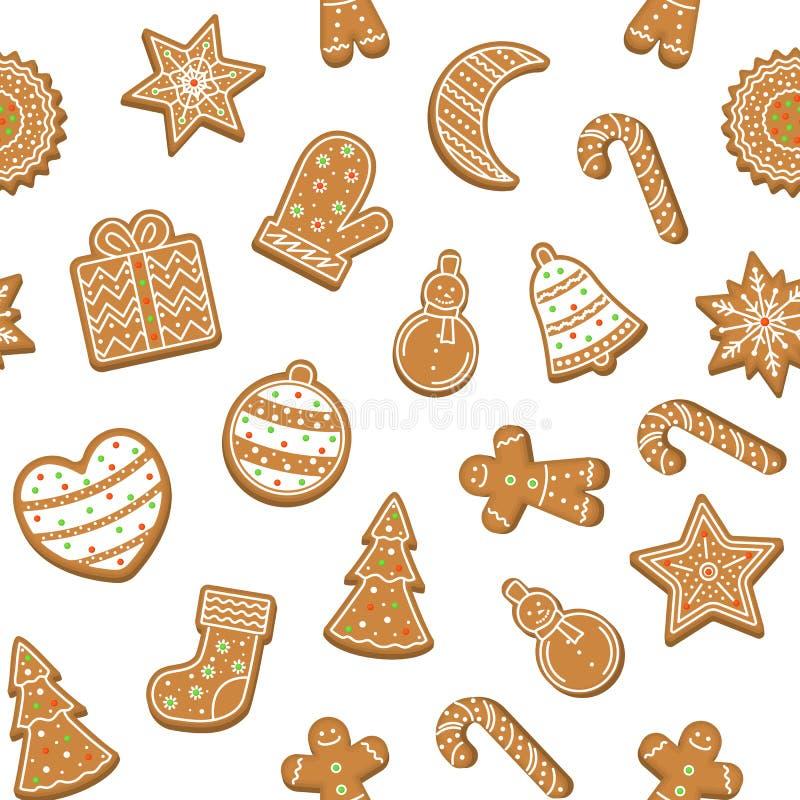 Fundo sem emenda do teste padr?o das cookies do Natal dos desenhos animados Vetor ilustração do vetor