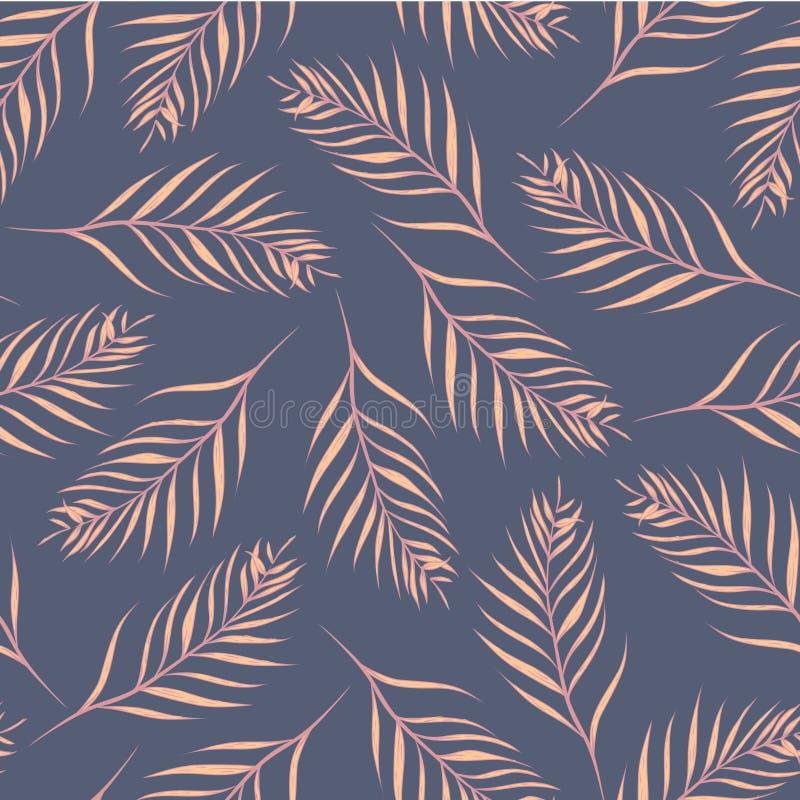 Fundo sem emenda do teste padr?o das folhas de palmeira tropicais do vetor ilustração stock
