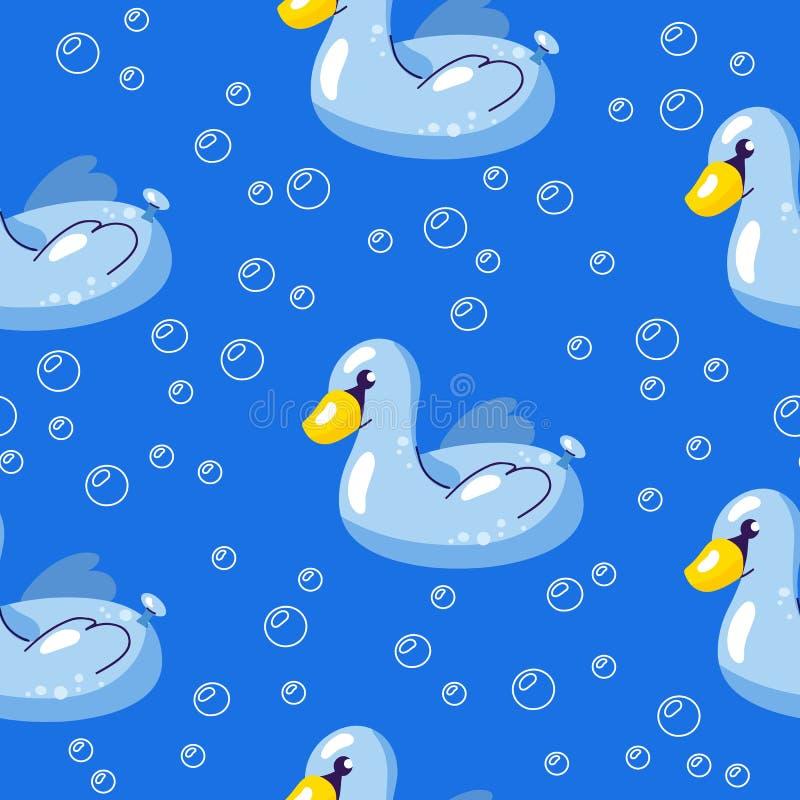 Fundo sem emenda do ver?o do vetor Teste padrão com a cisne de flutuação na água Ilustração para a natação e a recreação ilustração royalty free