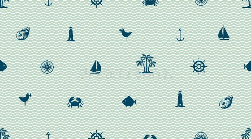 Fundo sem emenda do vetor com objetos bonitos do mar ilustração stock