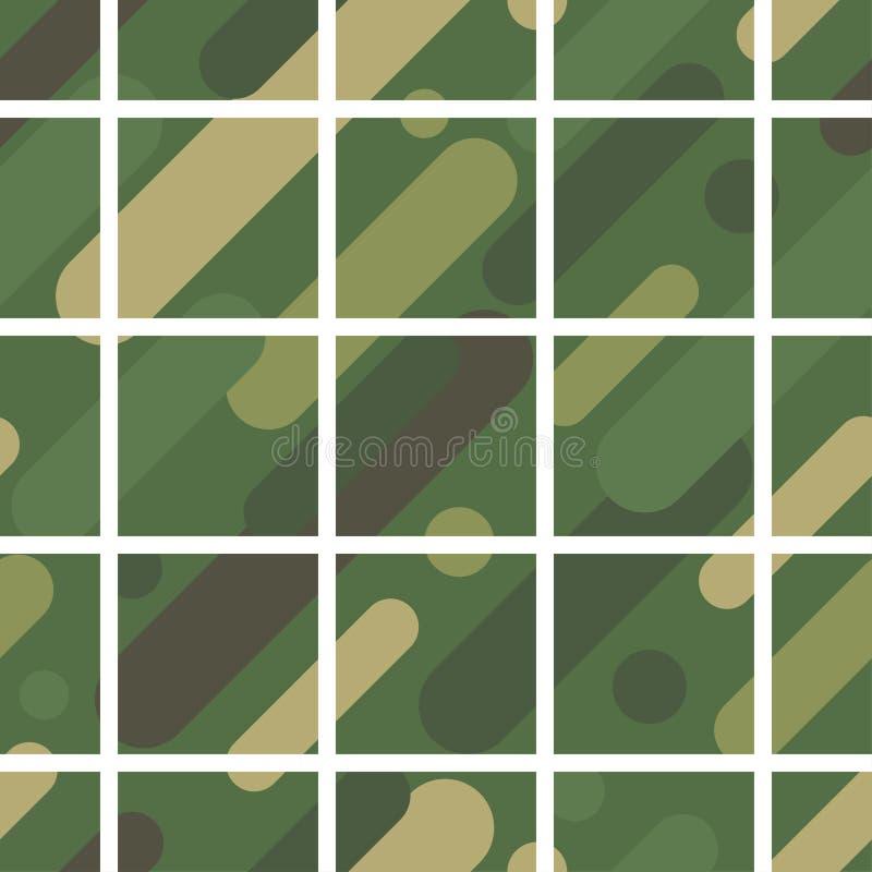 Fundo sem emenda do vetor com teste padrão da camuflagem As cores das forças armadas escala da Verde-azeitona das cores ilustração do vetor
