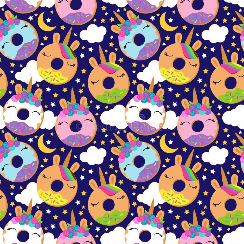 Fundo sem emenda do vetor com Unicorn Themed Donuts ilustração royalty free