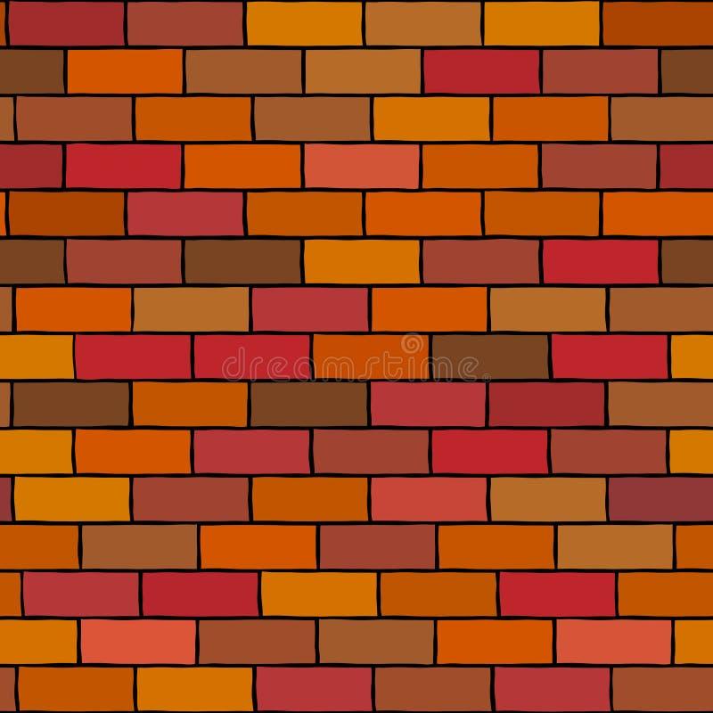 Fundo sem emenda do vetor da ilustração da parede de tijolo ilustração stock