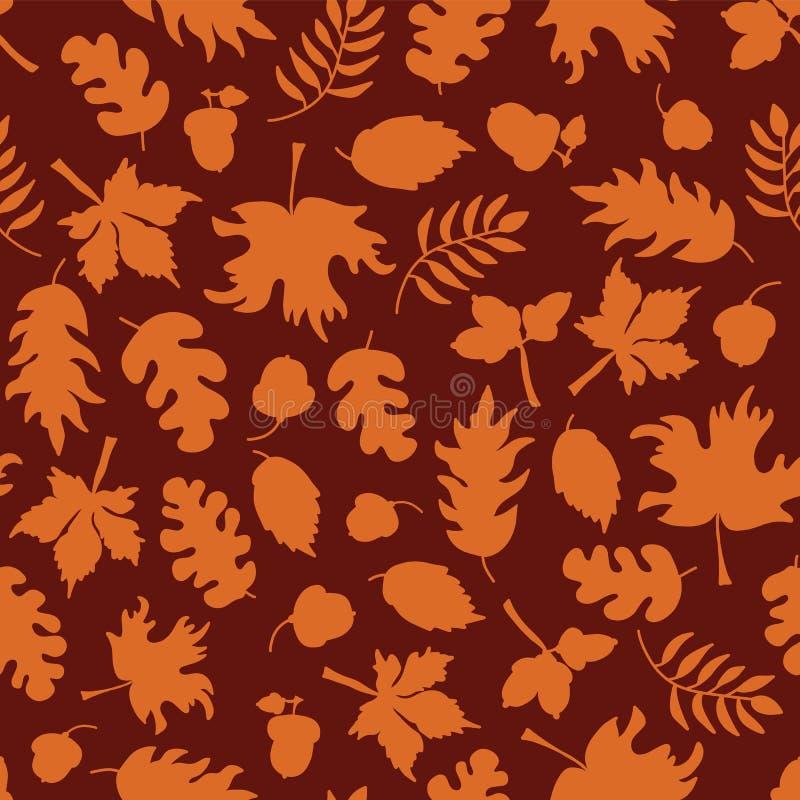 Fundo sem emenda do vetor das folhas de outono Silhuetas alaranjadas da folha em um fundo vermelho Bolotas, carvalho, teste padrã ilustração stock
