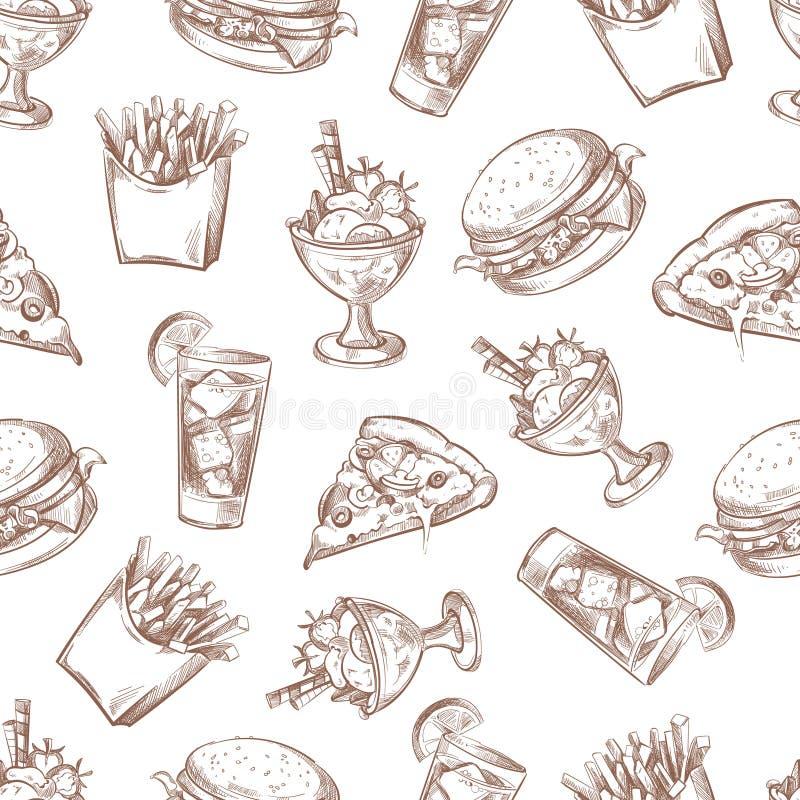 Fundo sem emenda do vetor do fast food, teste padrão do menu para seu projeto da embalagem ilustração do vetor