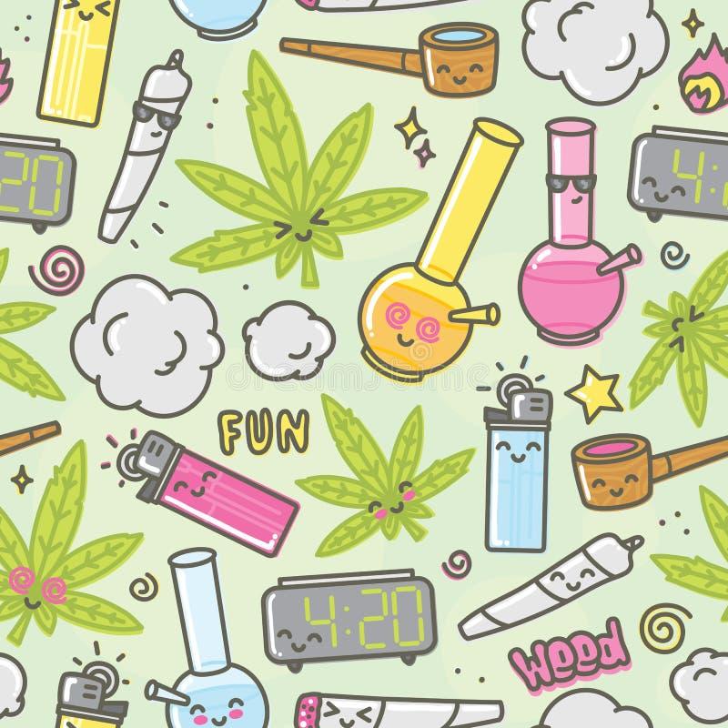 Fundo sem emenda do vetor dos desenhos animados do kawaii da marijuana ilustração do vetor
