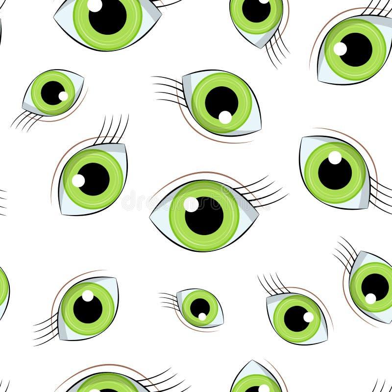 Fundo sem emenda do vetor largamente aberto dos olhos verdes ilustração stock