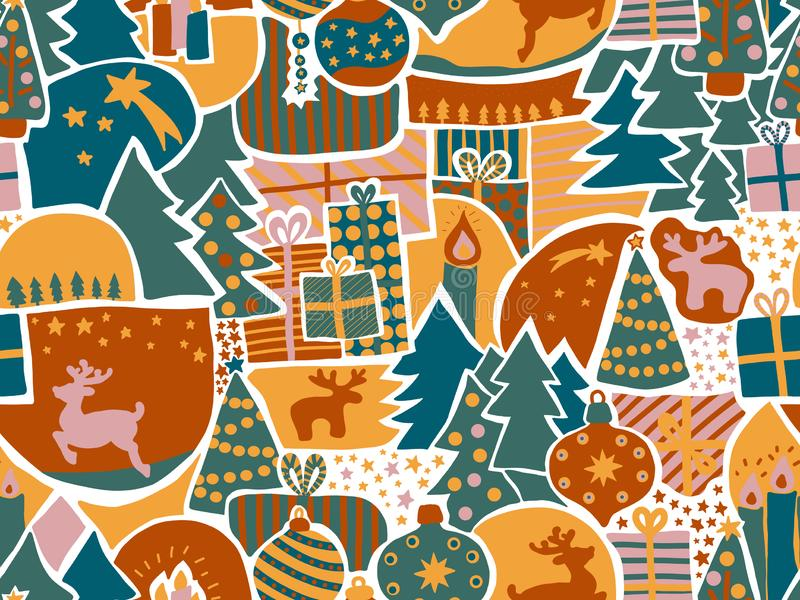 Fundo sem emenda do vetor do Natal Teste padrão moderno na cerceta, verde do feriado, ouro, cor-de-rosa Rena, alce, ornamento do  ilustração royalty free