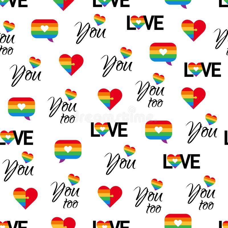 Fundo sem emenda do vetor do teste padrão LGBT do orgulho alegre ilustração do vetor