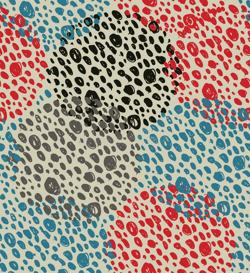 Fundo sem emenda do vintage abstrato com círculos dos pontos Teste padrão retro do grunge ilustração royalty free
