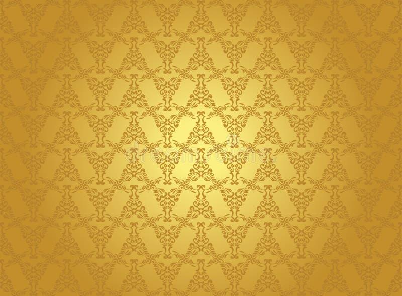 Fundo sem emenda do vintage no ouro ilustração royalty free