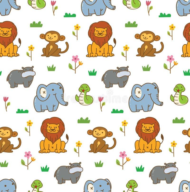 Fundo sem emenda dos animais bonitos com leão, macaco, serpente, etc. ilustração do vetor