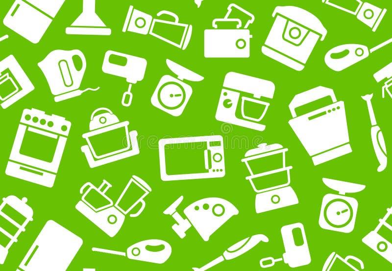 Fundo dos aparelhos electrodomésticos da cozinha ilustração do vetor