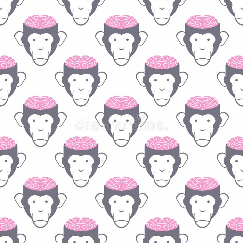 Fundo sem emenda dos cérebros do macaco Teste padrão do vetor dos animais ilustração royalty free