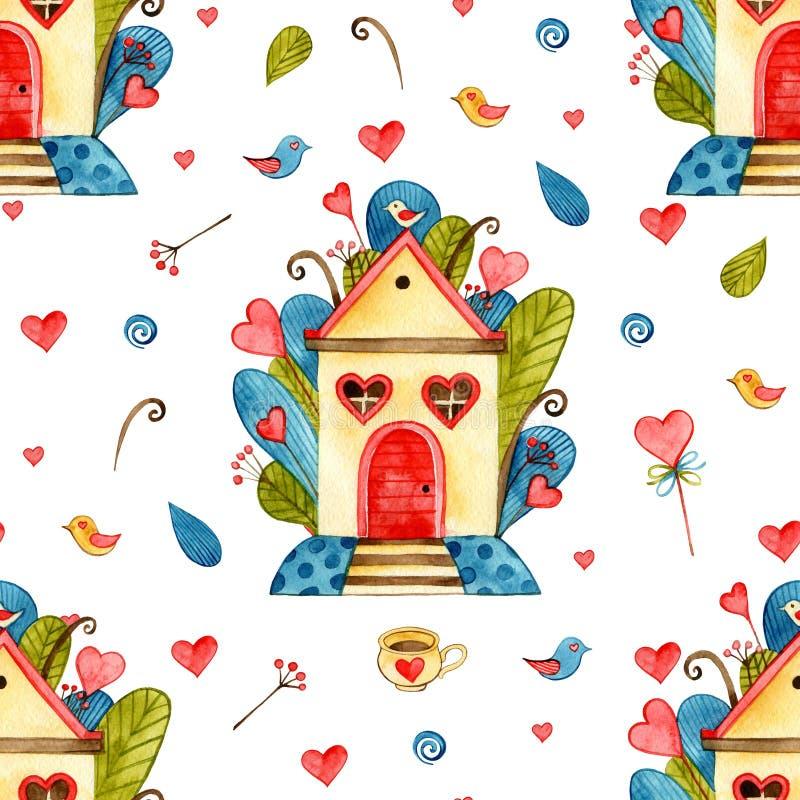 Fundo sem emenda dos corações da aquarela Teste padrão cor-de-rosa do coração Textura romântica colorida ilustração stock