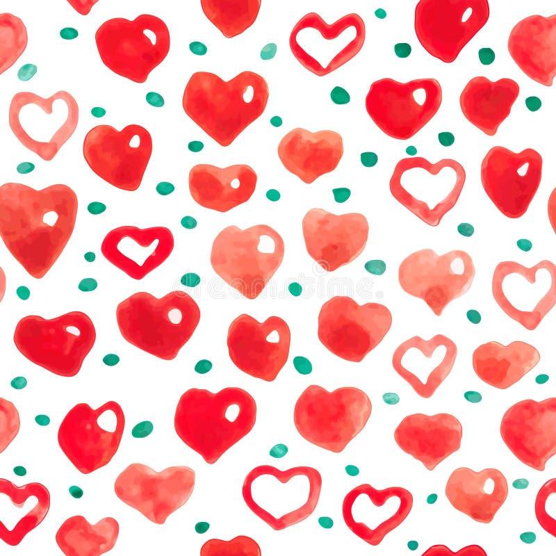 Fundo sem emenda dos corações da aquarela teste padrão Cor-de-rosa-vermelho do coração da aquarela ilustração stock