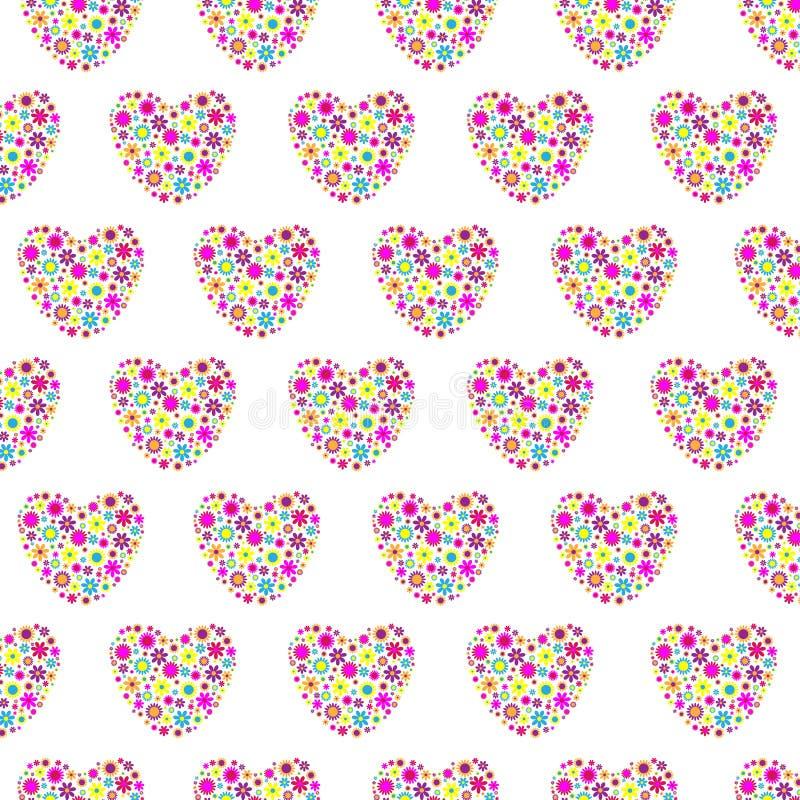 Fundo sem emenda dos corações florais ilustração do vetor