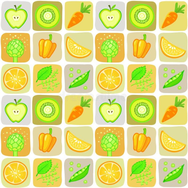 Fundo sem emenda dos elementos dos vegetais e do fruto ilustração stock