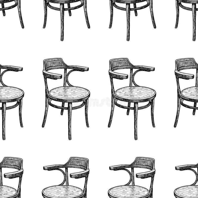 Fundo sem emenda dos esboços das cadeiras do vintage ilustração do vetor
