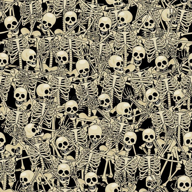 Fundo sem emenda dos esqueletos ilustração stock