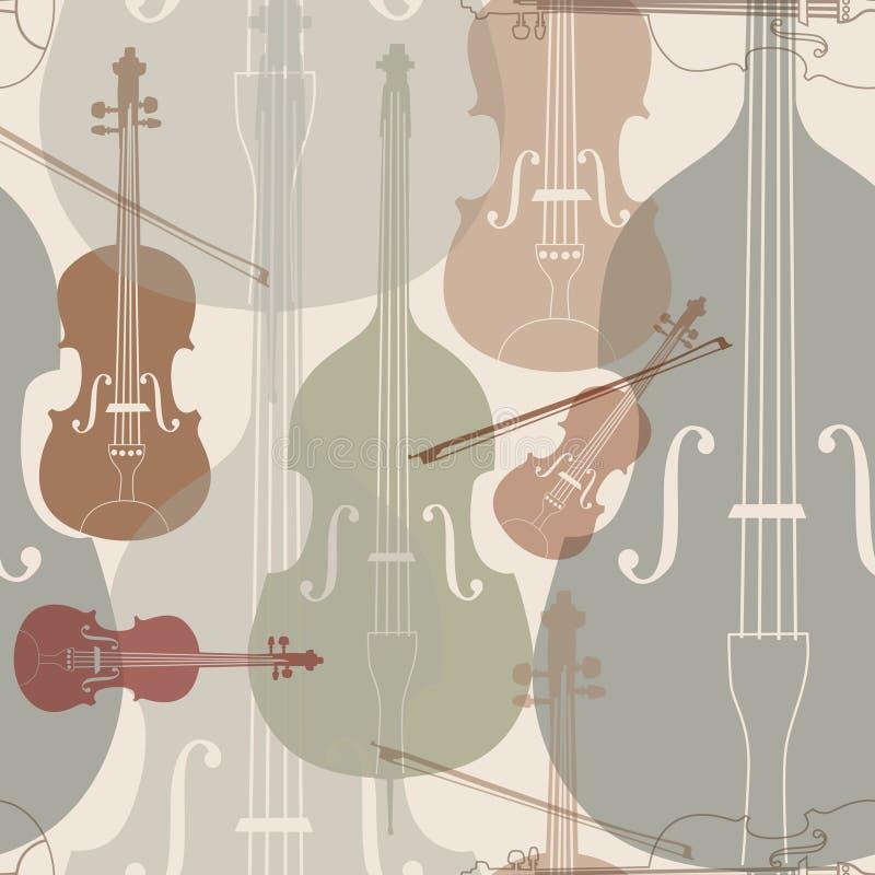 Fundo sem emenda dos instrumentos de música ilustração stock