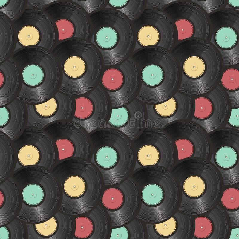 Fundo sem emenda dos registros de vinil ilustração stock