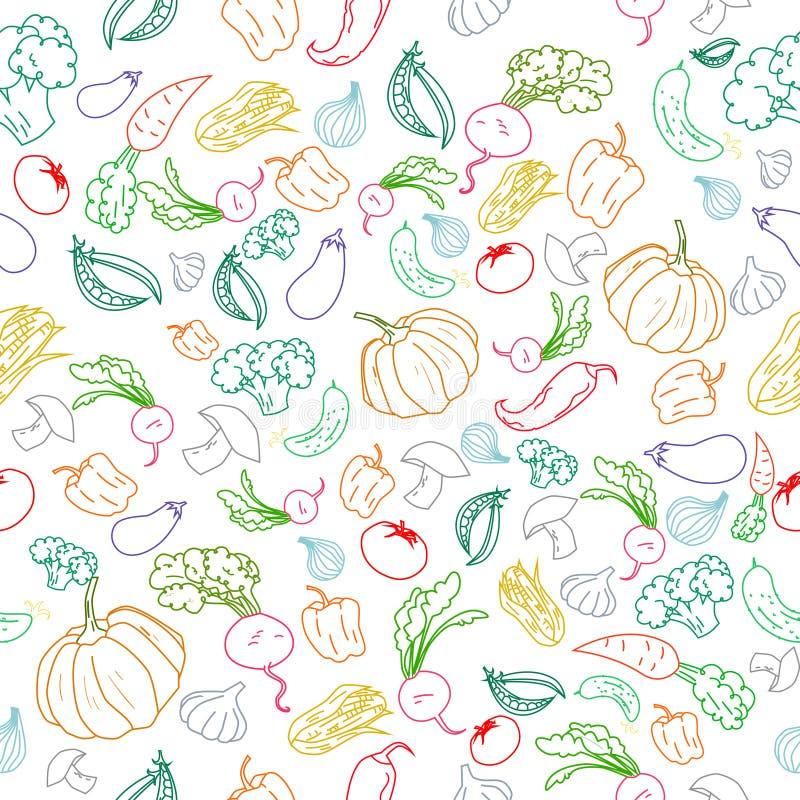Fundo sem emenda dos vegetais da cor do teste padrão ilustração do vetor