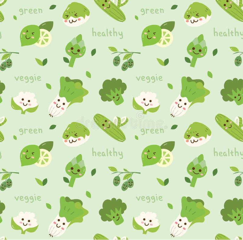 Fundo sem emenda dos vegetais no vetor do estilo do kawaii ilustração stock