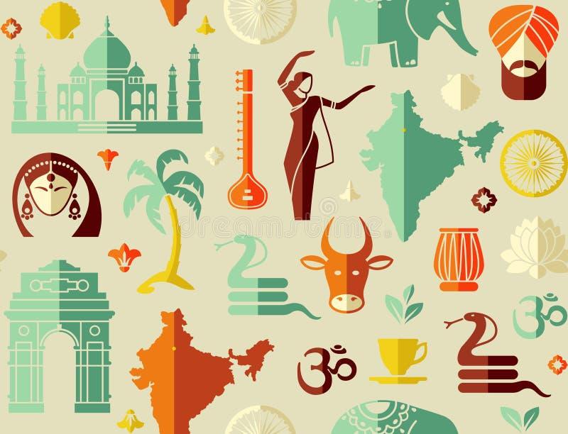 Fundo sem emenda em um tema da Índia ilustração stock