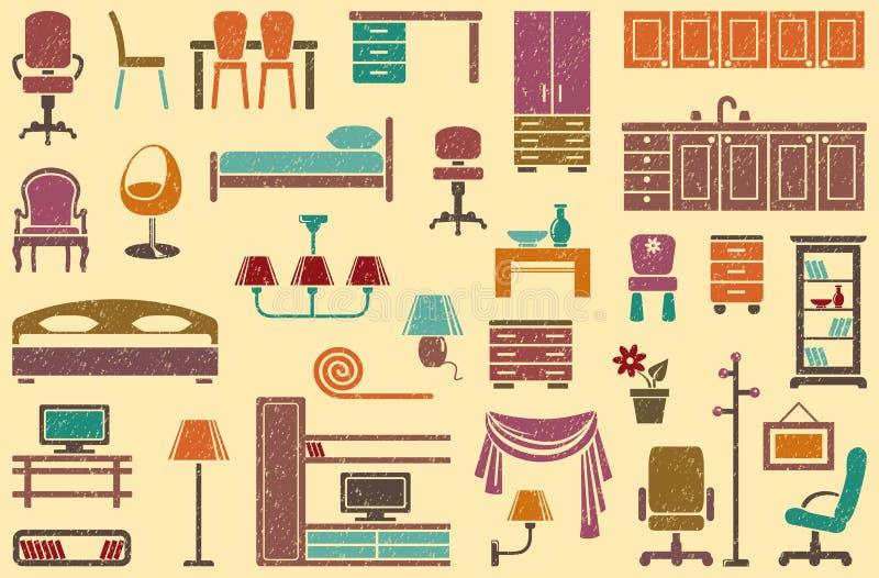 Fundo sem emenda em um tema da mobília ilustração royalty free