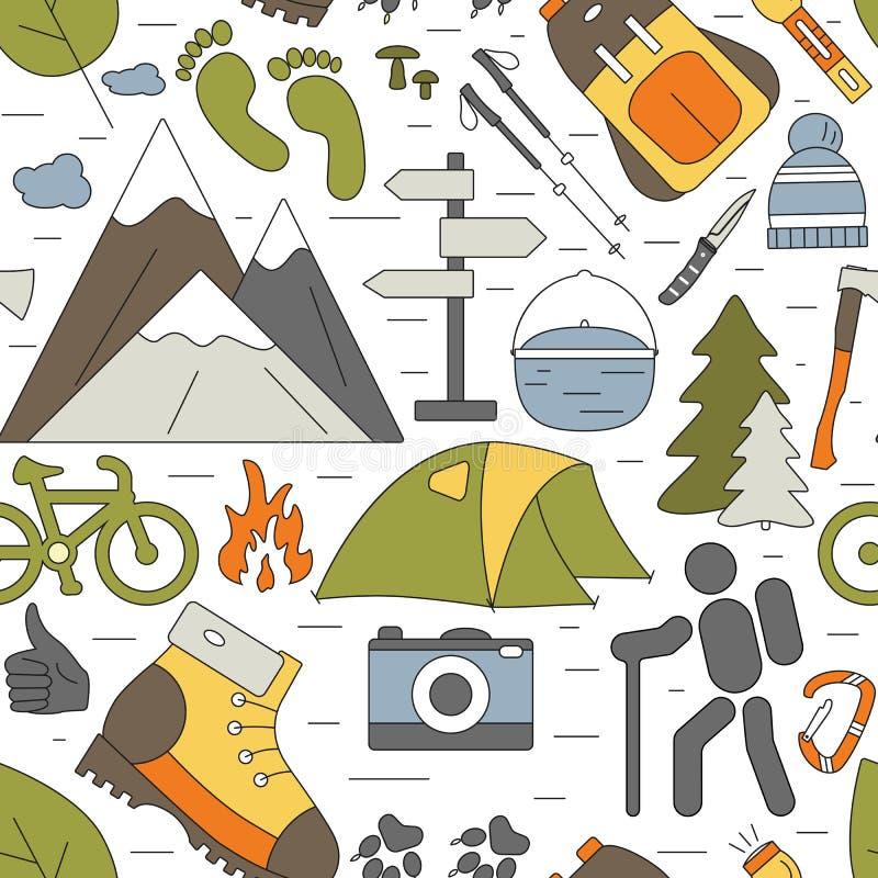 Fundo sem emenda exterior Teste padrão de caminhada e de acampamento dos ícones ilustração royalty free