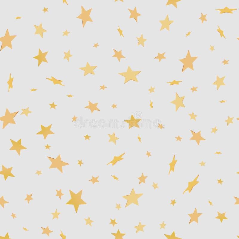 Fundo sem emenda festivo brilhante com muitos ouro efervescente 3d ilustração stock
