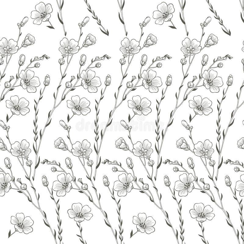 Fundo sem emenda floral da planta do linho ilustração do vetor