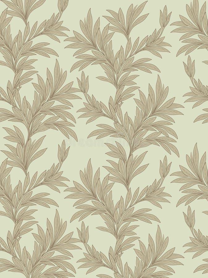 Fundo sem emenda floral deixa o teste padrão retro do estilo ilustração royalty free