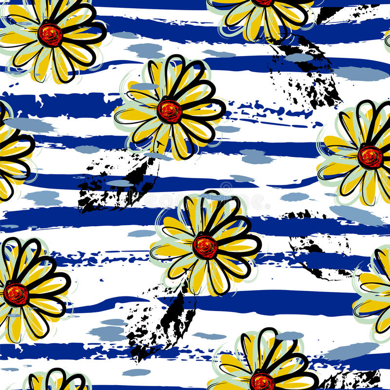 Fundo sem emenda floral do teste padrão, ilustração royalty free