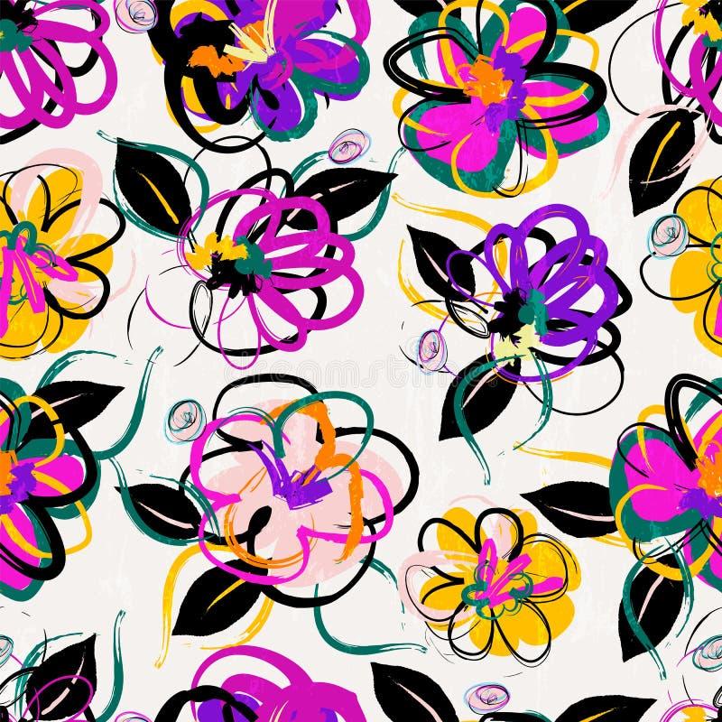 Fundo sem emenda floral do teste padrão ilustração royalty free