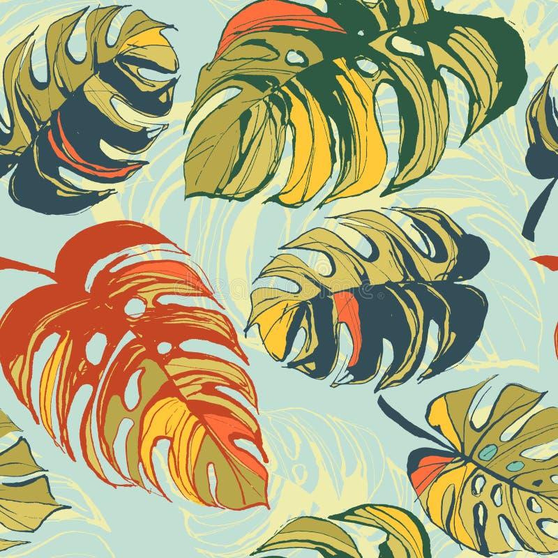 Fundo sem emenda floral do teste padrão da selva tropical com palma le ilustração stock